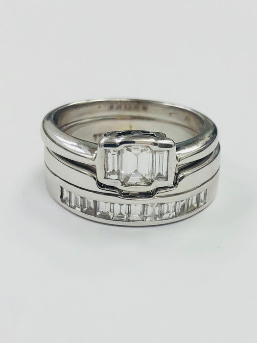 18ct White Gold Emerald Cut three stone Diamond ring. 0.60cts - BUNCH1 - Robert Openshaw Fine Jewellery