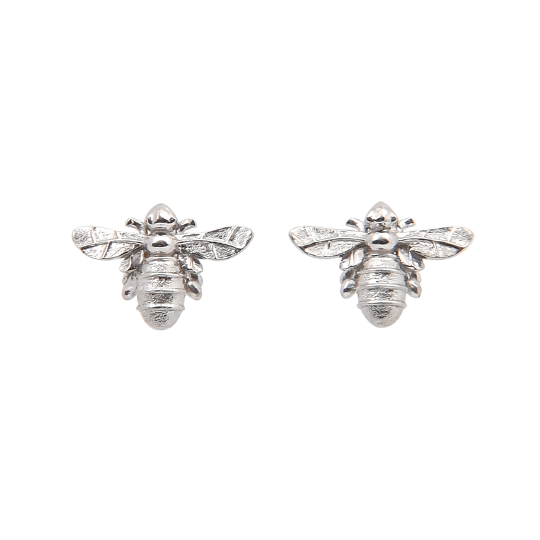 Silver Mini Bumble Bee Stud Earrings 925