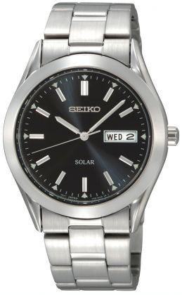 SEIKO GENTS STAINLESS STEEL SOLAR DAY/DATE SNE039P1 - Robert Openshaw Fine Jewellery