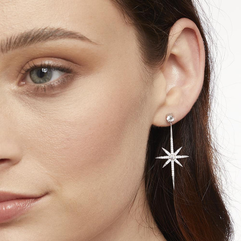 Jools Silver North Star CZ Drop Earrings HBE2004