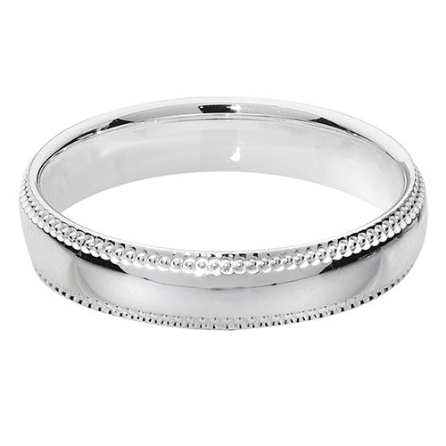 925 Silver 4mm Traditional Court Millgrain edge G7745