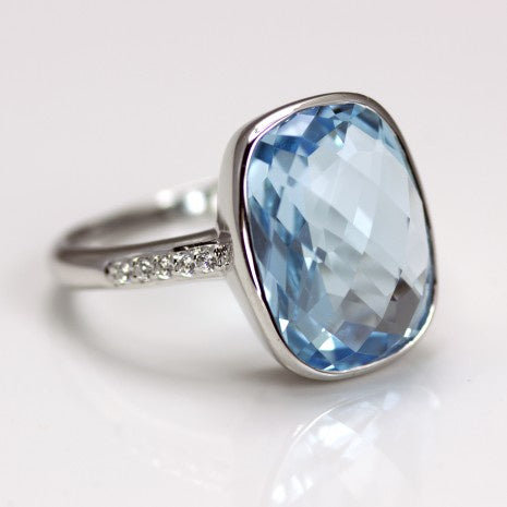 Silver Blue Topaz & White CZ Ring