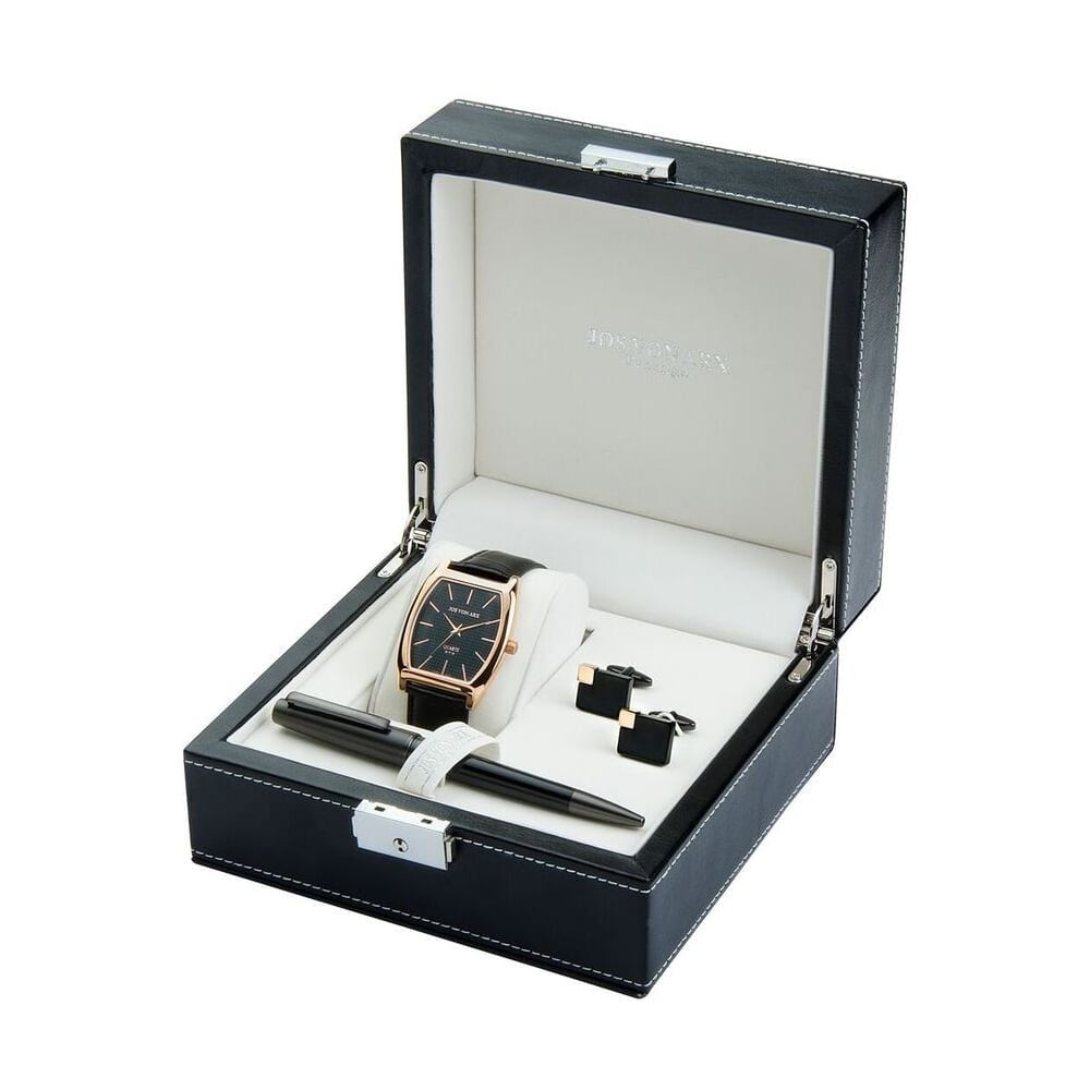 Men's Gift Set With Black Classic Watch, Ball Point Pen & Rectangular Cufflinks LX12 - Robert Openshaw Fine Jewellery