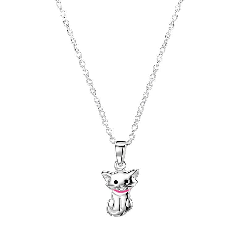 "JO FOR GIRLS SILVER 10mm ""CAT WITH ATTITUDE"" PINK COLLAR CP129"