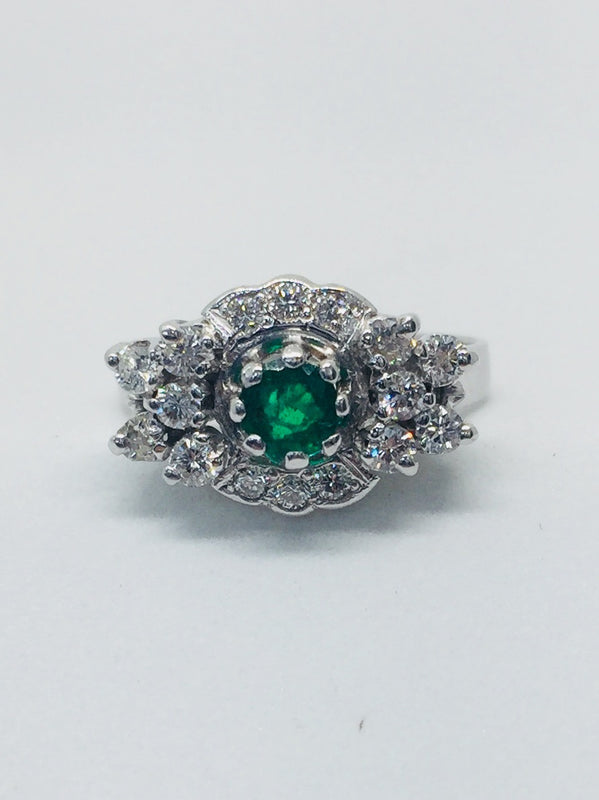 18ct White Gold Diamond and Emerald cluster ring - SHORTERS - Robert Openshaw Fine Jewellery