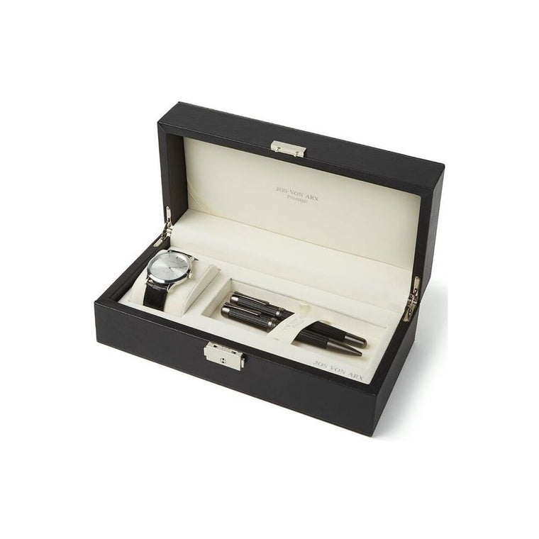 Men's Gift Set With Black & Silver Classic Watch & 2 Chunky Pens LX14