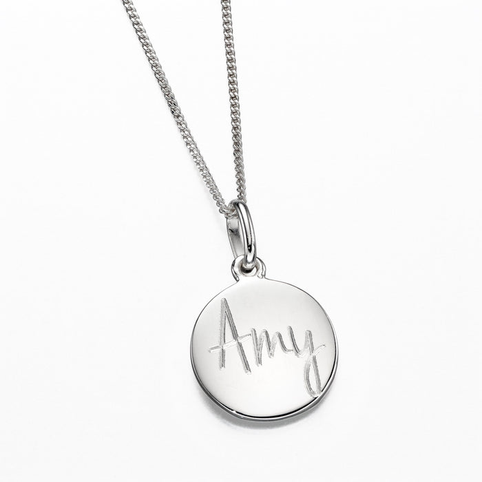 925 Silver Engraveable Disc Necklace P4778