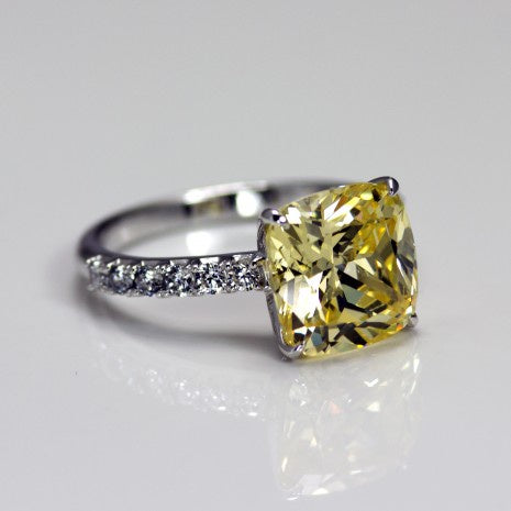 Silver Yellow/White CZ Ring