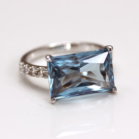 Silver Blue Oblong & White CZ Ring