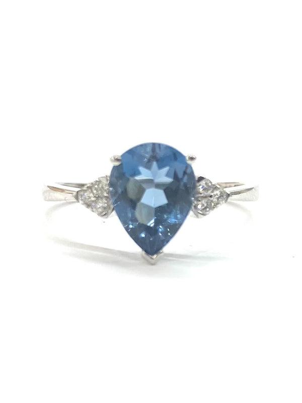 9ct White Gold Diamond & London Blue Topaz Ring 0.08/2.03cts - 1-10146