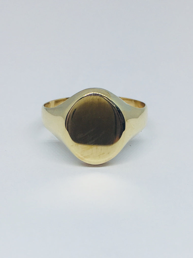 9ct Yellow Gold Plain Oval Signet Ring R266