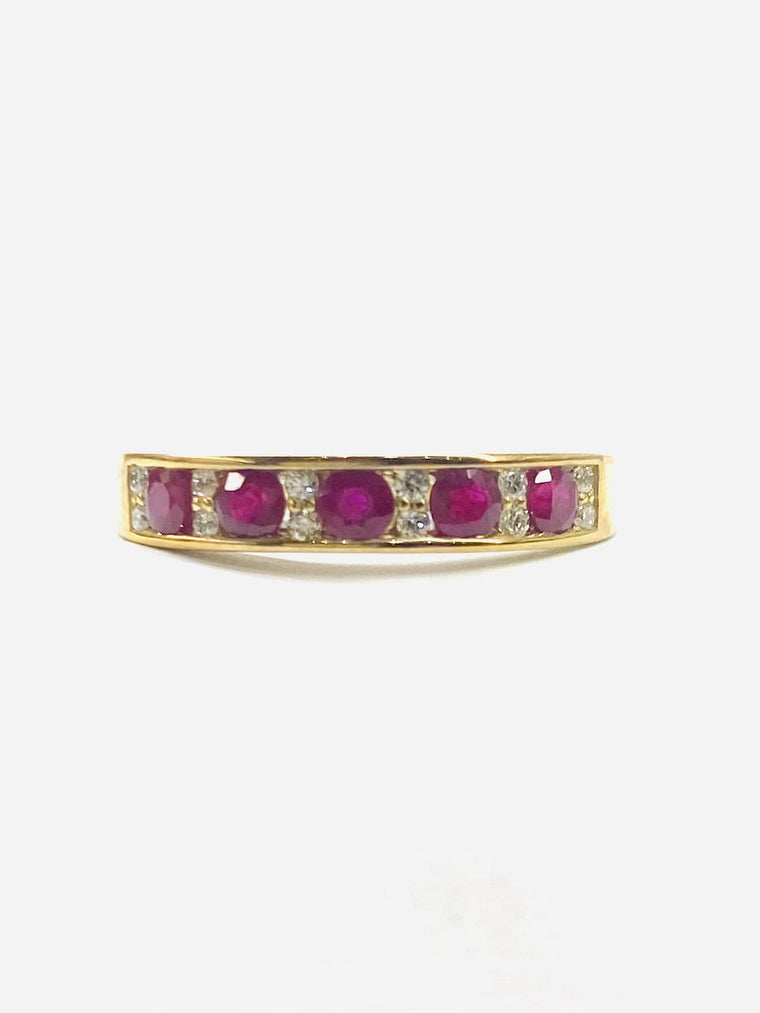 9ct Yellow Gold Ruby & Diamond Eternity Ring 2-10169-R