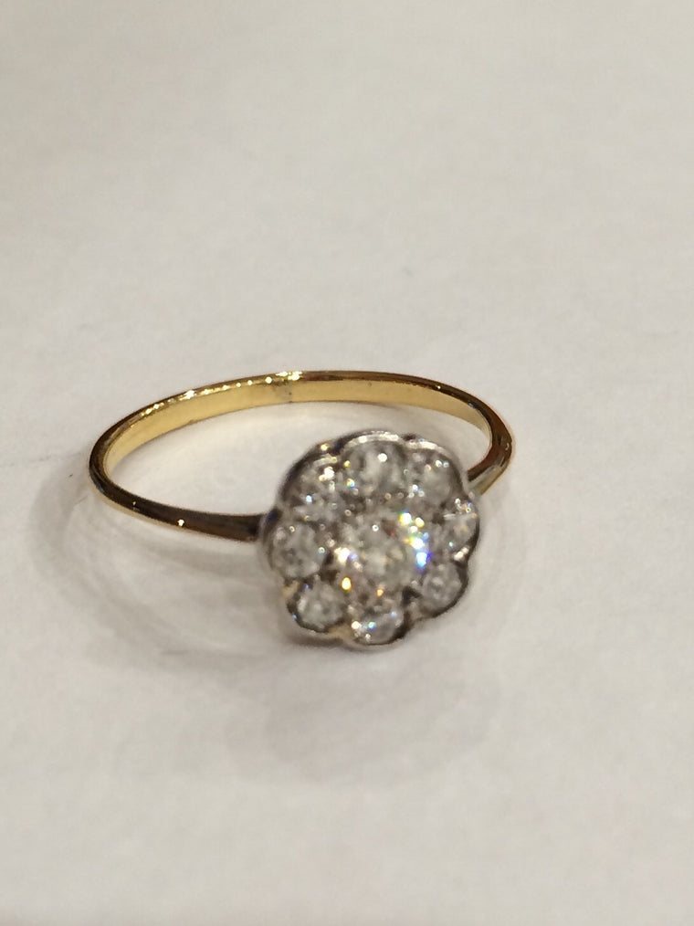 18CT YELLOW GOLD 0.56CTS 9 STONE DIAMOND CLUSTER RING MARSHALL/2