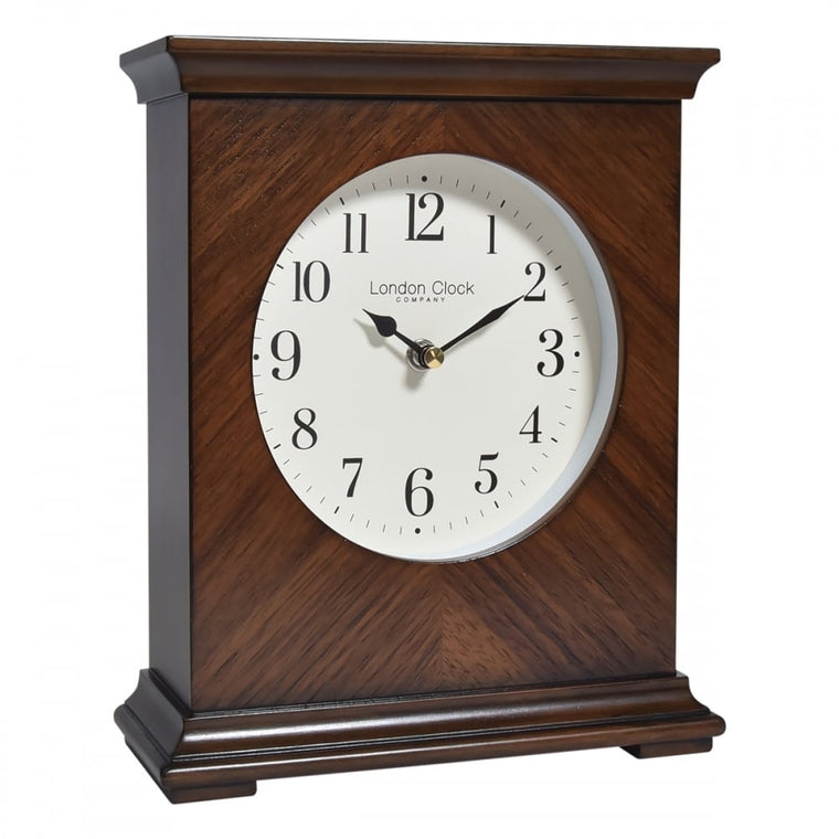 London Clock Co Flat Top Wooden Mantle Clock 03173