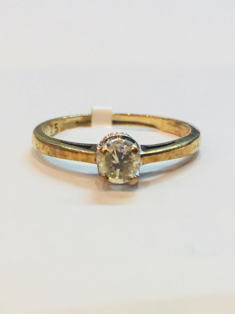 18ct Yellow Gold 0.25cts Diamond ring with Diamonds in Head