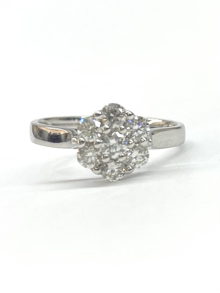 18ct White Gold 0.74cts Diamond Cluster Ring 19-10029