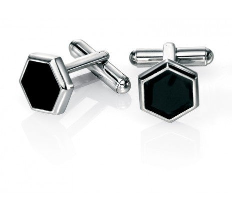 FRED BENNETT STEEL BLACK ENAMEL CUFFLINKS V466