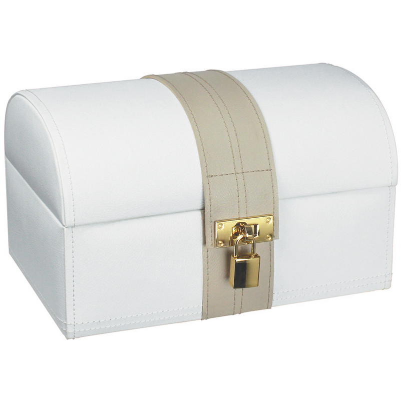 DULWICH LARGE LIGHT CREAM AND MINK TREASURE CHEST 71029 - Robert Openshaw Fine Jewellery