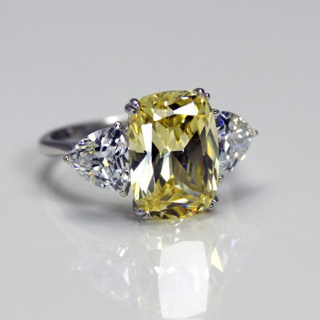 Silver Canary Yellow/White CZ Ring