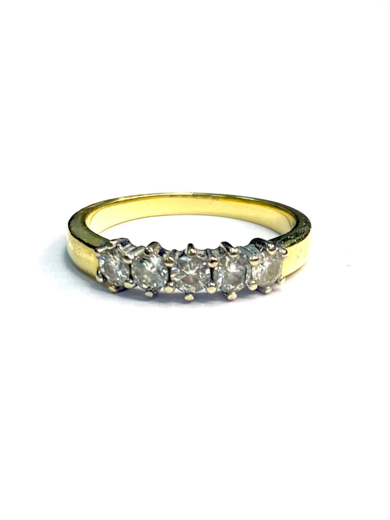 18ct Yellow Gold 0.50cts Five Stone Diamond Ring