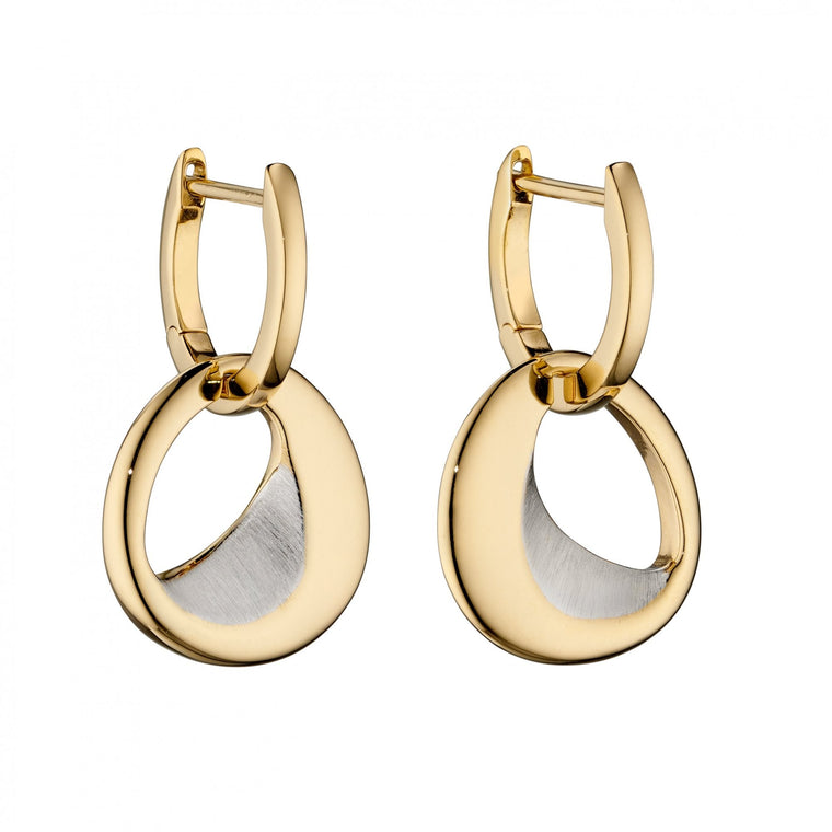 Fiorelli Silver Sterling Silver Hoop Organic Sculped Polished Gold Plating Earrings E5835