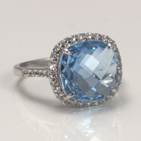 Silver Blue & White Topaz Cusion Ring