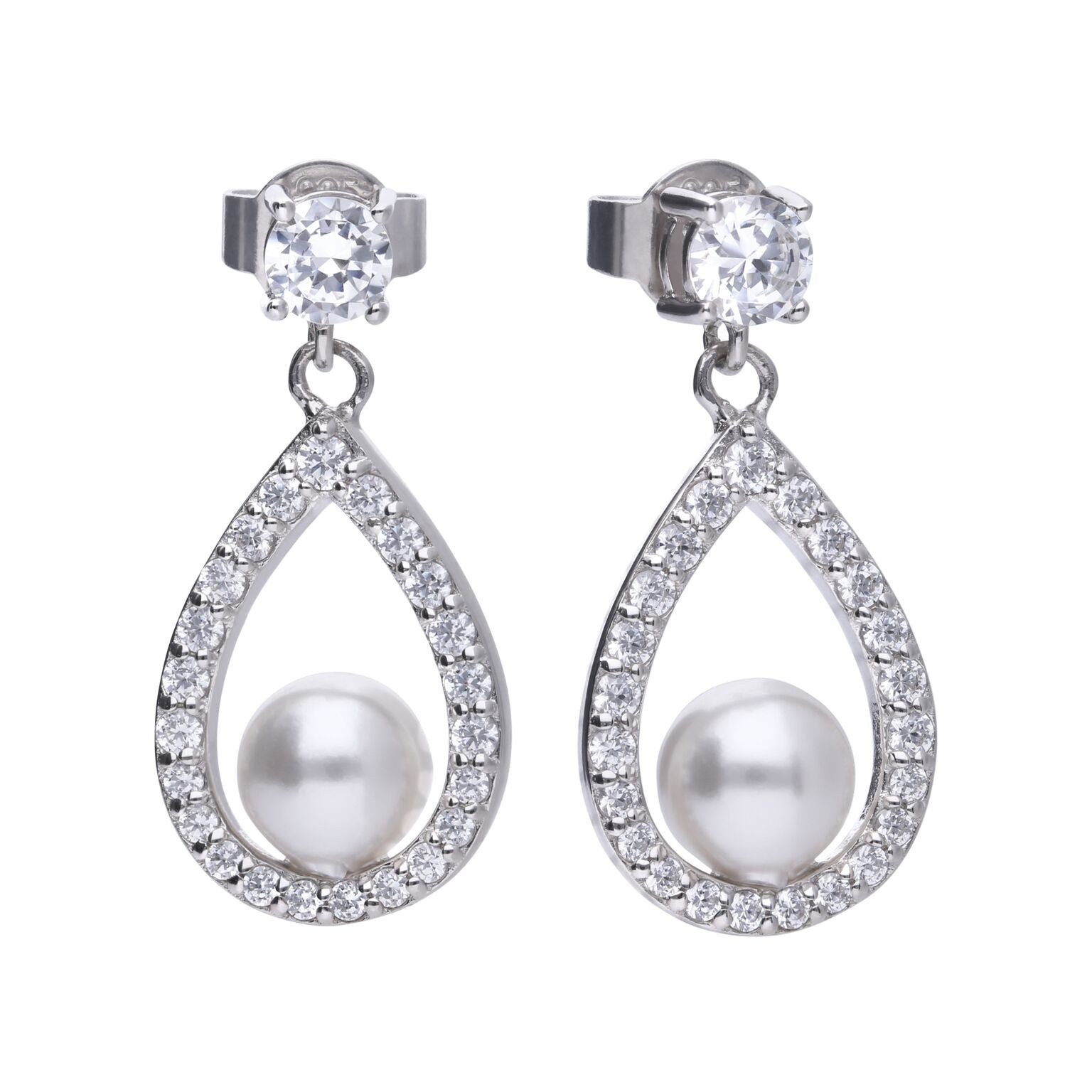 Diamondfire Teardrop Pearl Stud Earrings E5597