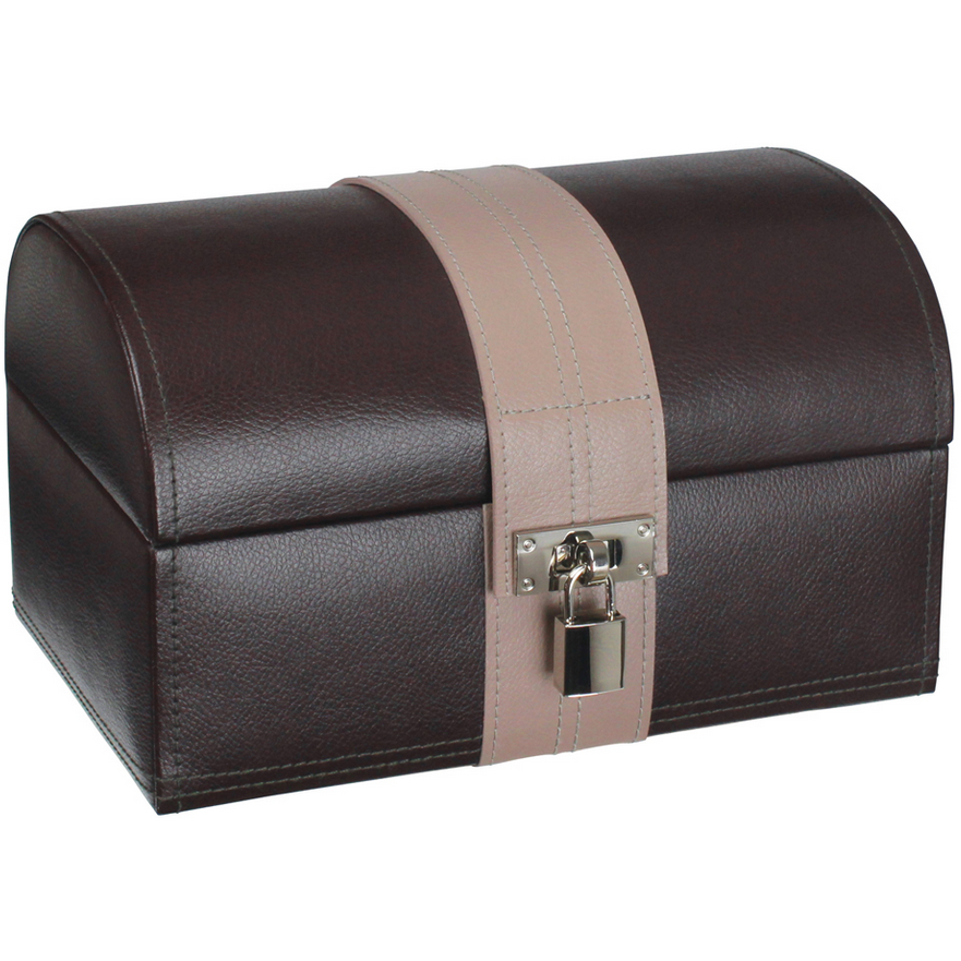 DULWICH LARGE CHOCOLATE BROWN AND MINK TREASURE CHEST 71030 - Robert Openshaw Fine Jewellery