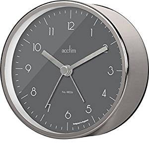 "Acctim ""Oskar"" Alarm Clock in Satin Steel 15677 - Robert Openshaw Fine Jewellery"