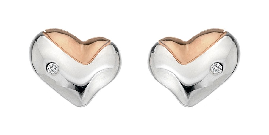 HOT DIAMONDS SILVER LUNAR HEART STUD EARRINGS WITH ROSE GOLD DE425 - Robert Openshaw Fine Jewellery