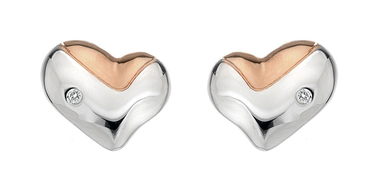 HOT DIAMONDS SILVER LUNAR HEART STUD EARRINGS WITH ROSE GOLD DE425