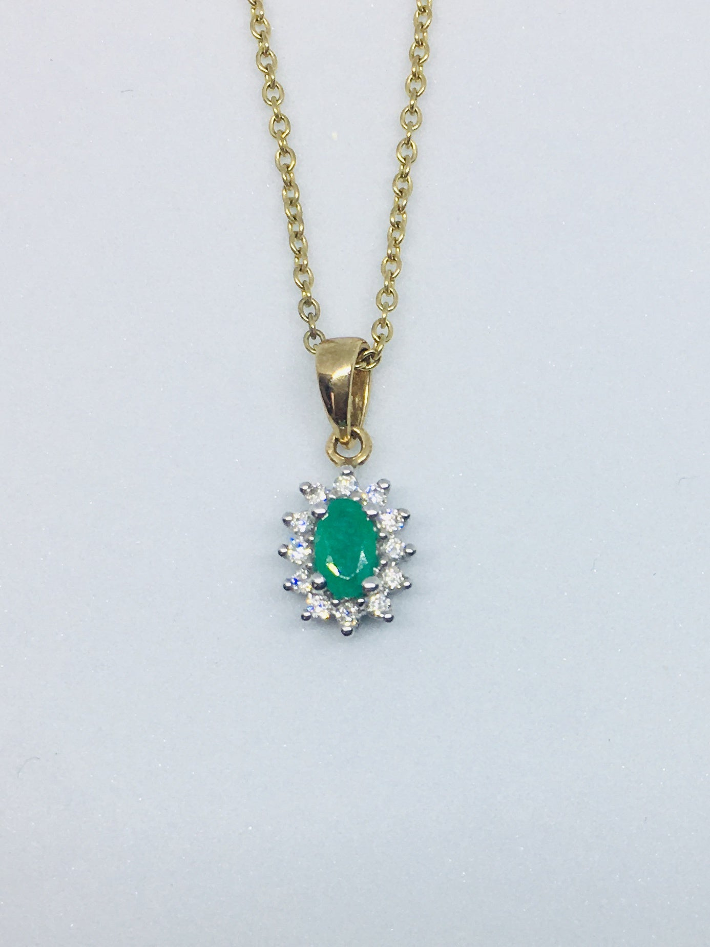 9ct Yellow Gold 0.10ct Diamond & Emerald Necklace  P160