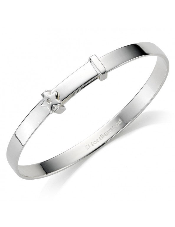 Silver & Diamond Star Baby Bangle B772