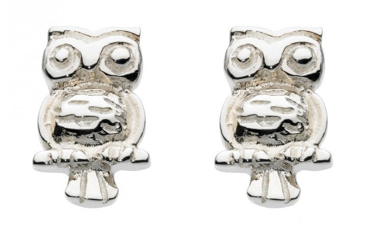 SILVER OWL STUD EARRINGS 40136HP013 - Robert Openshaw Fine Jewellery