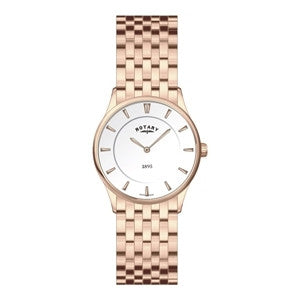 ROTARY LADIES ROSE GOLD COLOURED ULTRA SLIM BRACELET WATCH LB08204/02