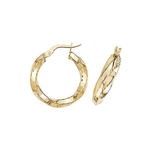 9ct Yellow Gold 15mm Hoops ER375