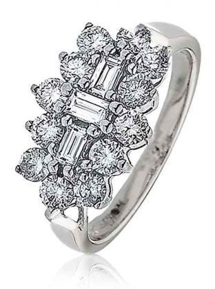 ROBERT OPENSHAW 18ct WHITE GOLD 1.08cts DIAMOND CLUSTER RING DRHQ914