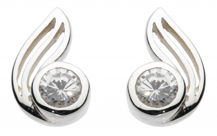 SILVER TWIST STUDS WITH CUBIC ZIRCONIA 38319CZ010