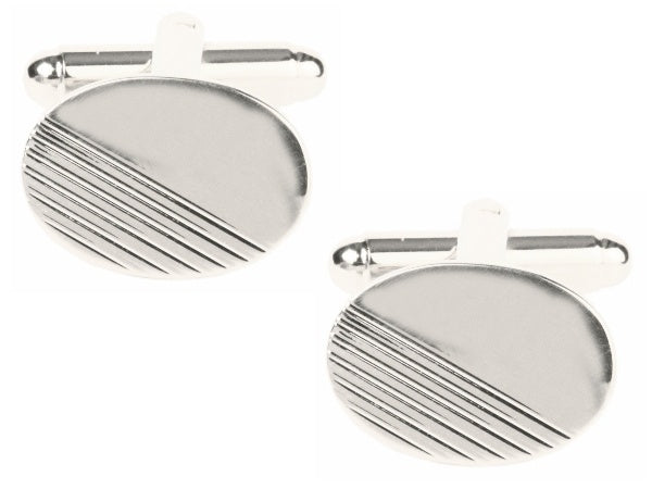 Oval with 1/3 Diagonal Line Design Rhodium Plated Cufflinks 901271