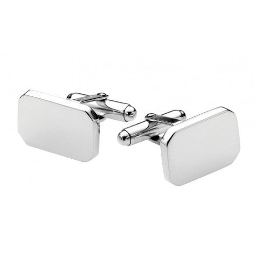 CARRS SILVER PLAIN RECTANGULAR CUFFLINKS PN117*BX-SS
