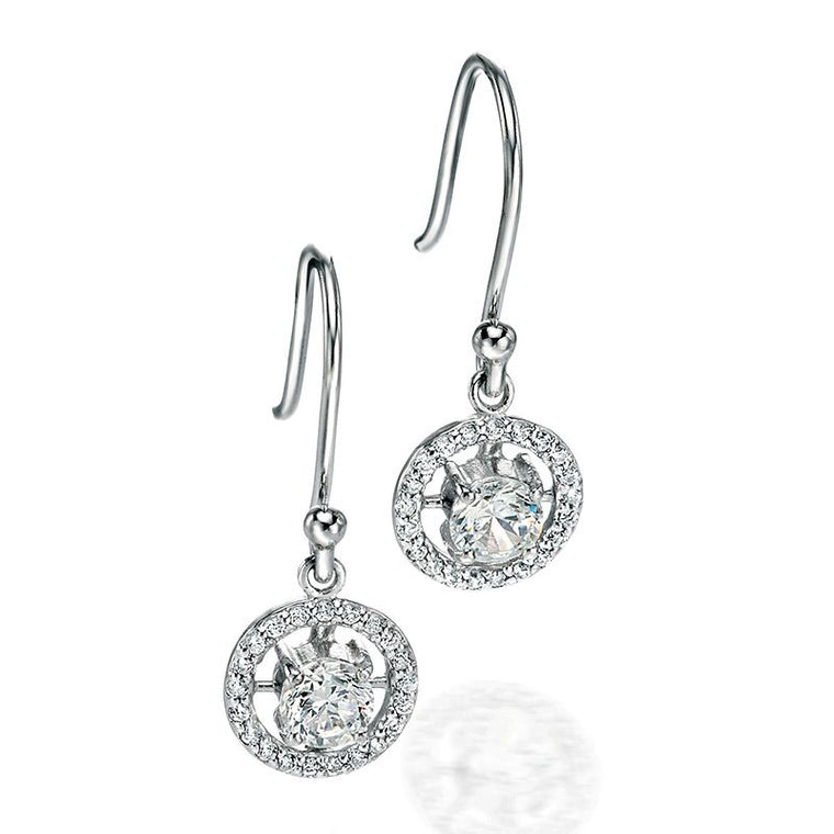 Fiorelli Round CZ Pave Drop Earrings E4686C
