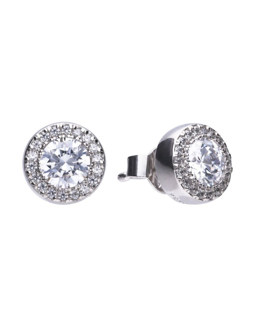 Diamonfire Silver Pave Stud Earrings E5591 - Robert Openshaw Fine Jewellery