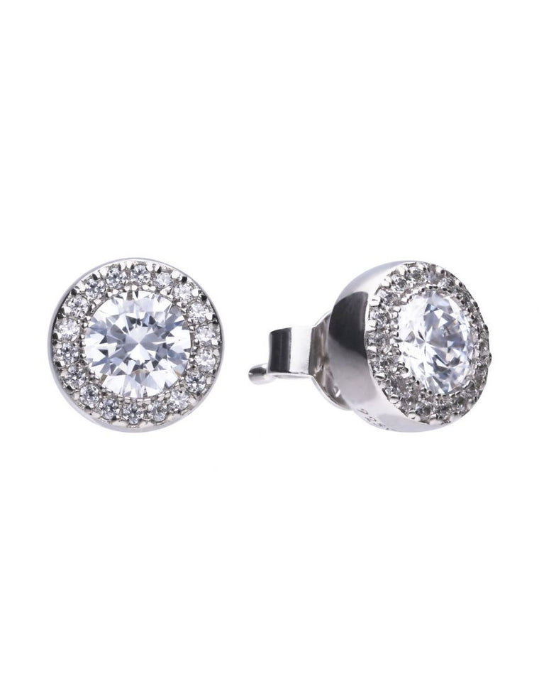 Diamonfire Silver Pave Stud Earrings E5591