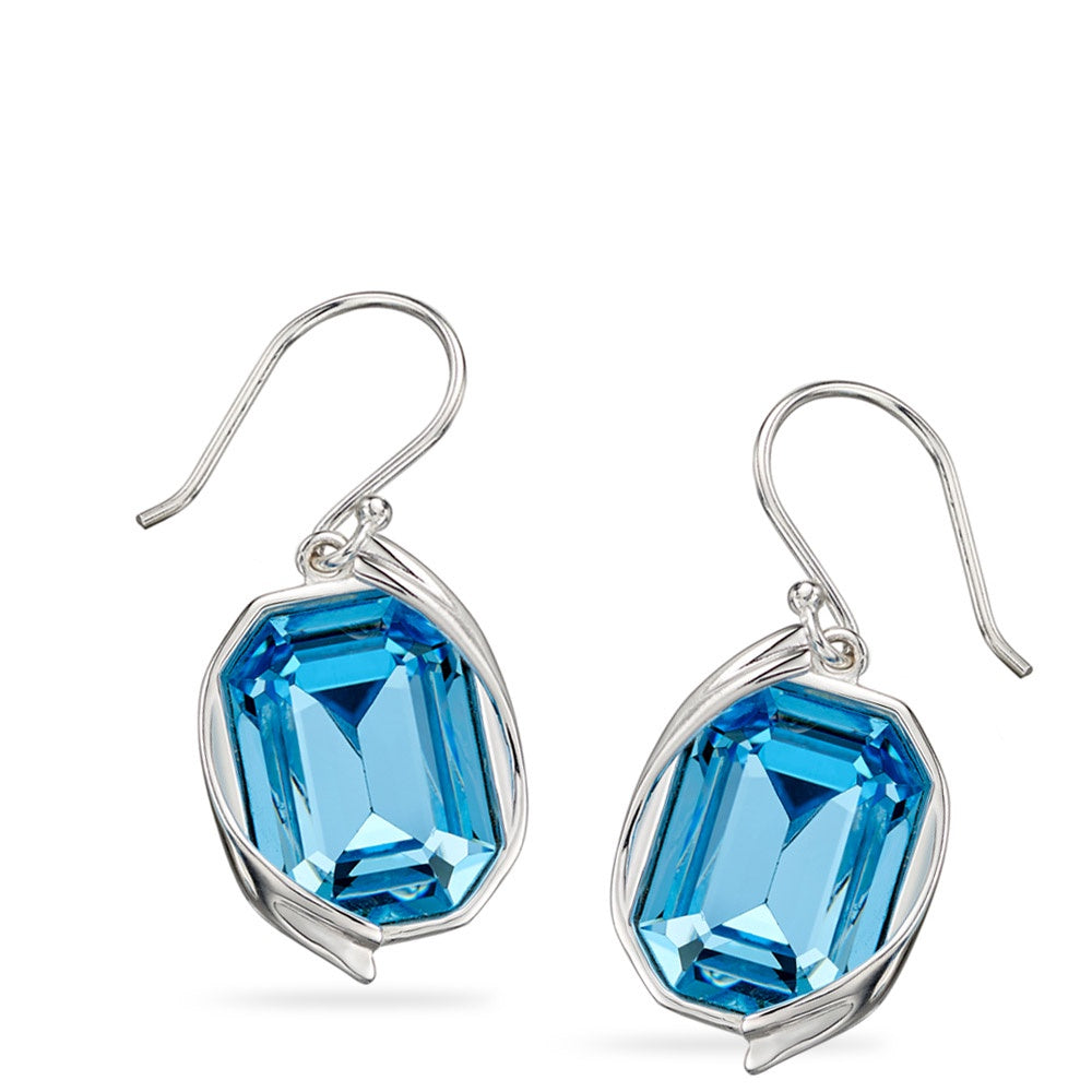Silver Swarovski Aquamarine Drop Earrings E5689T