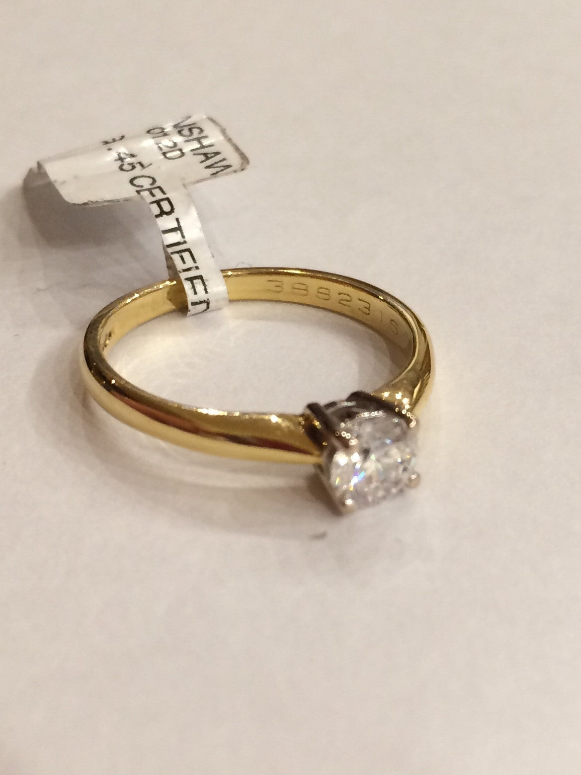 18CT YELLOW GOLD .45 CERTIFIED DIAMOND RING 07092012D - Robert Openshaw Fine Jewellery