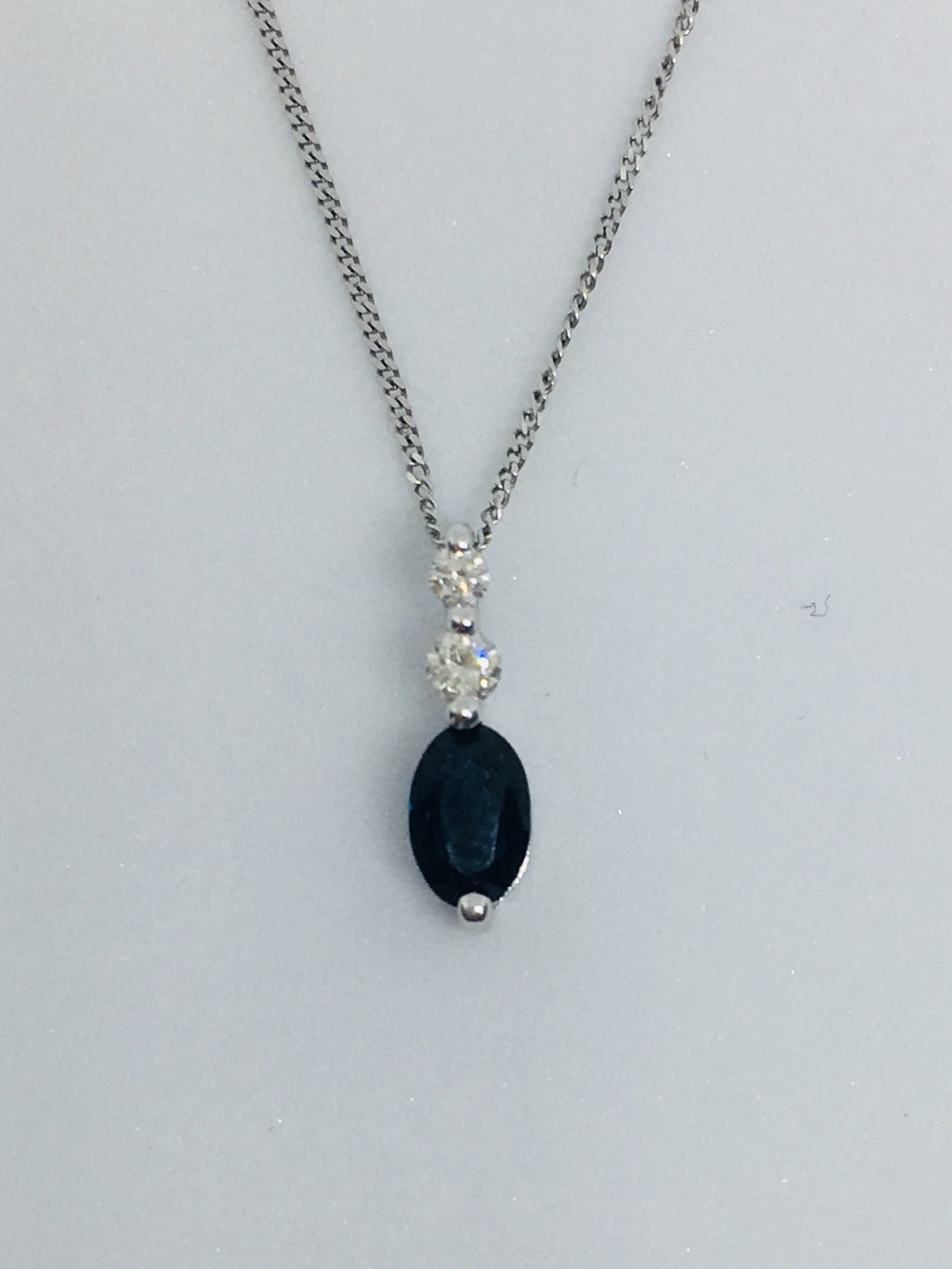 9ct White Gold Sapphire & Diamond Necklace GN058