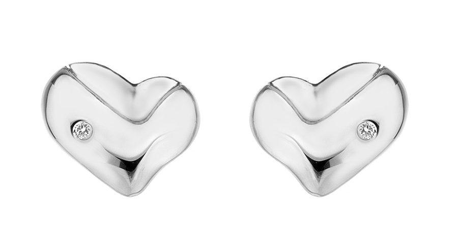 HOT DIAMONDS SILVER LUNAR HEART STUDS DE424 - Robert Openshaw Fine Jewellery