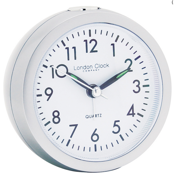 LONDON CLOCK CO SILVER ALARM CLOCK 04138 - Robert Openshaw Fine Jewellery