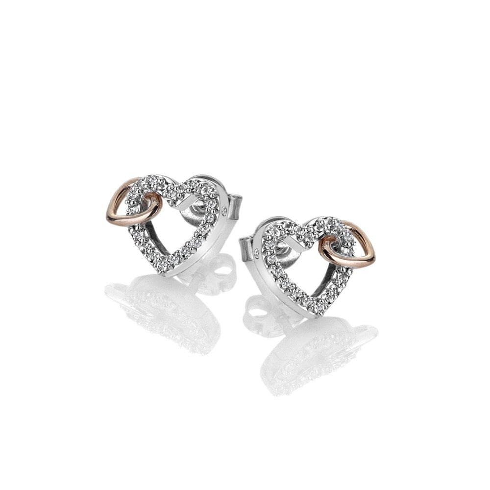 Hot Diamonds Togetherness Open Heart Earrings - Rose Gold Plate Accents DE606
