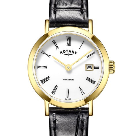 Rotary gold plated Windsor with Black strap LS05303/01